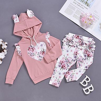 preiswerte Mode für Mädchen-Baby Mädchen Aktiv Blumen Langarm Kleidungs Set Rosa