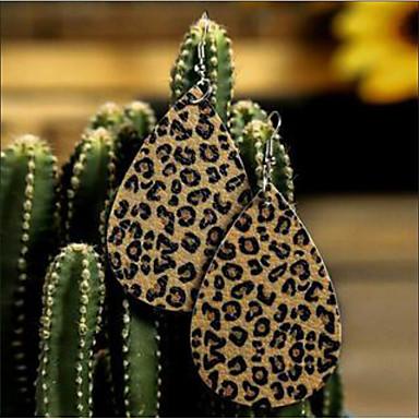povoljno Modne naušnice-Žene Viseće naušnice Naušnica Izrezati Klasičan Teardrop Jednostavan Leopard Print pomodan Moda afrički Krzno Naušnice Jewelry Crn / Rešetka / Leopard Bež Za Ulica Praznik Festival 1 par