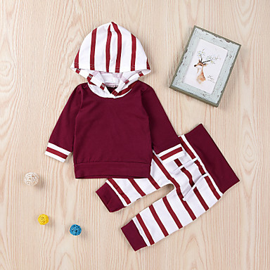 cheap Baby & Toddler Boy-Baby Boys' Active / Basic Red Striped / Print Drawstring Long Sleeve Regular Regular Clothing Set Red