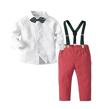 olcso Kisfiú ruhák-Gyerekek Fiú Alap Karácsony Otthon Nyomtatott Rajzfilm Hosszú ujj Szokványos Szokványos Ruházat szett Fehér