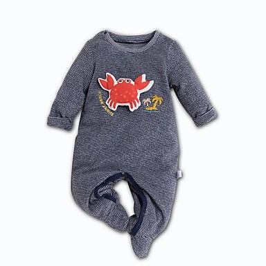 billige baby & barn-Baby Gutt Grunnleggende Trykt mønster Langermet Endelt Grå