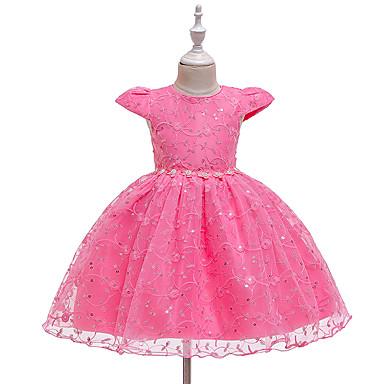 povoljno Odjeća za bebe-Dijete Djevojčice Aktivan Višnja Jednobojni Šljokice / Kolaž Kratkih rukava Do koljena Haljina Blushing Pink