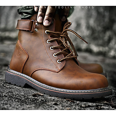 preiswerte Herrenschuhe-Herrn Lederschuhe Leder Herbst Winter Klassisch Stiefel Walking warm halten Booties / Stiefeletten Schwarz / Braun
