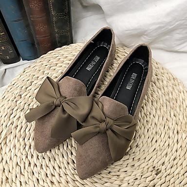 Női Papucsok & Balerinacipők Lapos Erősített lábujj Fordított bőr Tavaszi nyár Fekete / Khakizöld