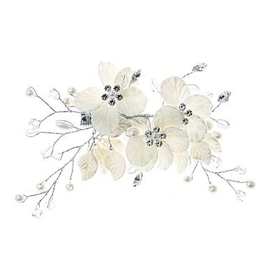 Ötvözet Hair Clip val vel Gyöngydíszítés / Kristály / Strassz / Virág 1 darab Esküvő / Különleges alkalom Sisak