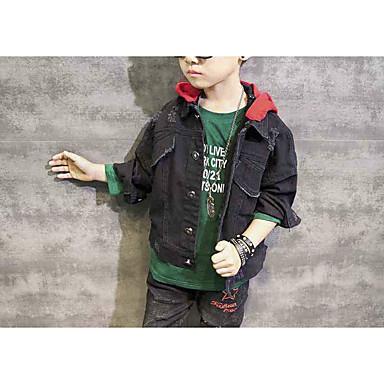 povoljno Odjeća za dječake-Djeca Dječaci Osnovni Ulični šik Jednobojni Rupica Normalne dužine Jakna i kaput Crn