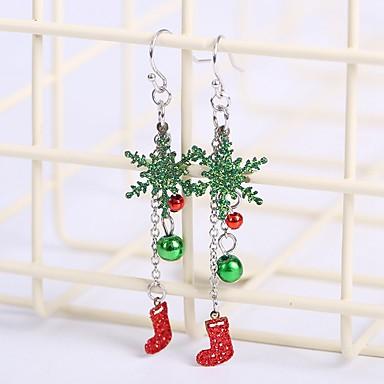 povoljno Modne naušnice-Žene Viseće naušnice Jastuk Pahulja slatko Naušnice Jewelry Srebro Za Božić 1 par