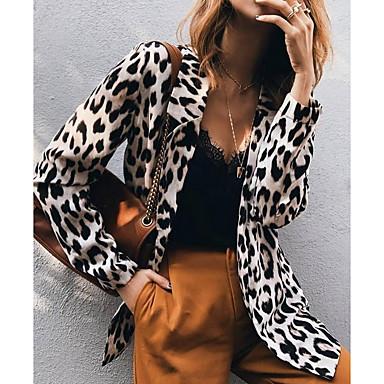 cheap New Arrivals-Women's Blazer, Leopard Notch Lapel Polyester Khaki