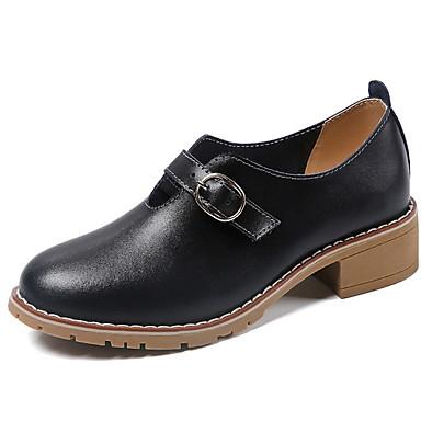 levne Dámské boty s plochou podrážkou-Dámské Bez podpatku Nízký podpatek Oblá špička PU Podzim zima Černá / Béžová
