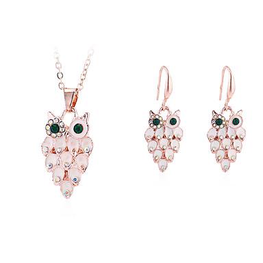 levne Dámské šperky-Dámské Náhrdelník Náušnice Sova Jednoduchý Vintage Evropský Módní Cute Style Umělé diamanty Náušnice Šperky Zlatá Pro Párty Dar Denní Dovolená Práce 1 sada
