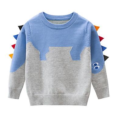 cheap Baby & Kids-Kids Toddler Boys' Street chic Color Block Long Sleeve Sweater & Cardigan Light Blue