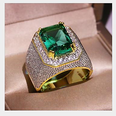 levne Pánské šperky-Pánské Dámské Prsten Syntetický smaragd 1ks Zlatá Měď Geometric Shape Módní Denní Dovolená Šperky Geometrické Yıldız Cool