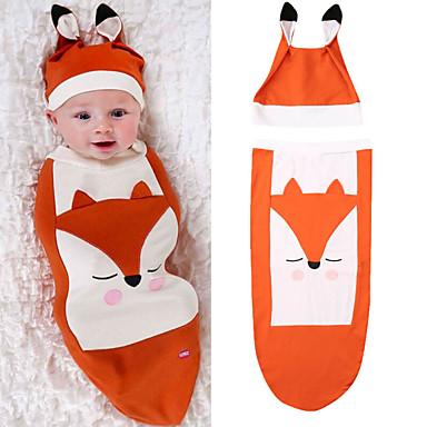 preiswerte Unterwäsche & Socken für Jungen Babys-2pcs Baby Jungen Druck Tiermuster Ärmellos Schlafanzüge Orange
