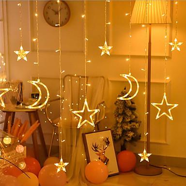 led villogó fények vonós lámpák jégcsap függöny lámpák ünnepi karácsonyi esküvői dekoráció lámpák csillag lámpák ötágú csillag lámpák