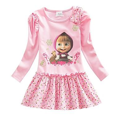 povoljno Odjeća za djevojčice-Djeca Djevojčice slatko Panda Crtani film Print Dugih rukava Iznad koljena Haljina Blushing Pink