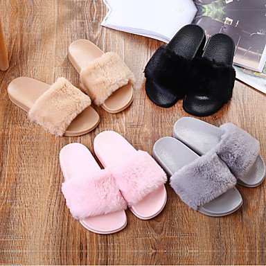 cheap Slippers-Women's Slippers / Girls' Slippers Slide Slippers / Guest Slippers / House Slippers Casual Faux Fur solid color Shoes