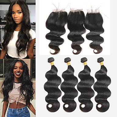 povoljno Ekstenzije od ljudske kose-4 paketi s zatvaranjem Peruanska kosa Tijelo Wave Remy kosa Ekstenzije od ljudske kose Kosa potke zatvaranje 8-26 inch Natural Isprepliće ljudske kose Nježno Najbolja kvaliteta Novi Dolazak / 10A