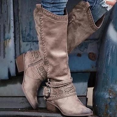 ราคาถูก ฤดูใบไม้ร่วง 2019-สำหรับผู้หญิง บูท รองเท้าสบาย ๆ ส้นหนา Pointed Toe PU บู้ทสูงระดับกลาง ฤดูใบไม้ร่วง & ฤดูหนาว สีน้ำตาล / สีชมพู / สีเทา