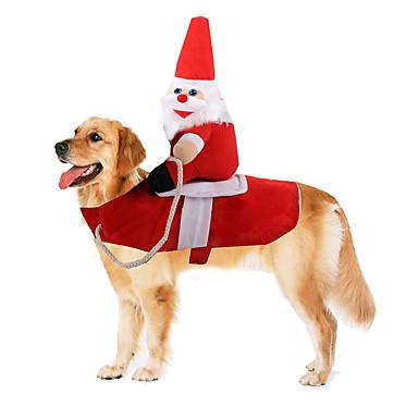 preiswerte Haustier Weihnachten Kostüm-Hunde Kostüme Winter Hundekleidung Rot Halloween Kostüm Baby Kleiner Hund Polyester Weihnachten Weihnachtsmann Cosplay Lustig S M L XL / Großer Hund