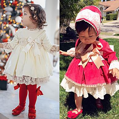 billige Babytøj-Baby Pige Boheme Hvid Rød Ensfarvet Jul Blonder Sløjfer Langærmet Kjole Hvid
