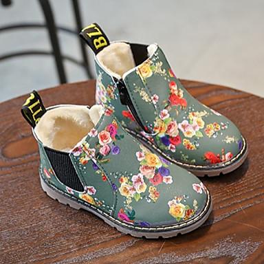 preiswerte Schuhe für Kinder-Mädchen Springerstiefel Lackleder Stiefel Kleine Kinder (4-7 Jahre) Blume Schwarz / Grau Winter / Mittelhohe Stiefel