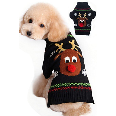 cheap Dog Clothing & Accessories-Cat Dog Sweater Christmas Dog Clothes Reindeer Black Red Acrylic Fibers Costume For Winter Men's Women's Christmas New Year's