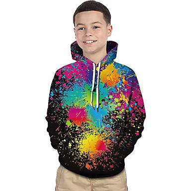 preiswerte Mode für Jungen-Kinder Baby Jungen Aktiv Grundlegend Zauberwürfel Geometrisch Druck 3D Druck Langarm Kapuzenpullover Schwarz / Regenbogen