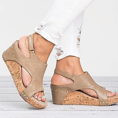 cheap Women's Sandals-Women's Sandals Wedge Heel Round Toe PU Spring & Summer Black / Brown / Almond