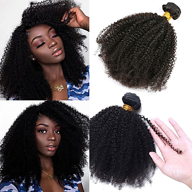 cheap Human Hair Weaves-1 Bundle Hair Weaves Brazilian Hair Afro Curly Human Hair Extensions Virgin Human Hair 100 g Natural Color Hair Weaves / Hair Bulk Afro Kinky Braids 8-26 inch Natural Best Quality 100% Virgin / 10A
