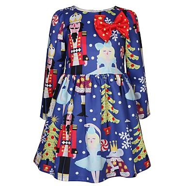 cheap Baby & Kids-Kids Toddler Girls' Active Sweet Cartoon Christmas Print Long Sleeve Knee-length Dress Blue