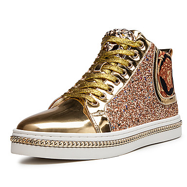 cheap Men's Shoes-Men's Fashion Boots PU Spring & Summer / Fall & Winter Casual Sneakers Non-slipping Booties / Ankle Boots Black / Gold / Sparkling Glitter