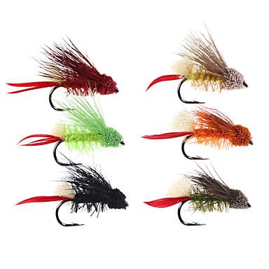 preiswerte Sport & Outdoor-6 pcs Fliegen Fliegen Schwimmend Bass Forelle Pike Fliegenfischen Fischen im Süßwasser Karpfenangeln Metal