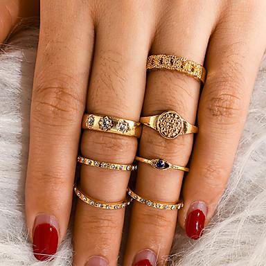 billige Motering-Dame Ring Ring Set 7pcs Gull Strass Legering Annerledes Klassisk Vintage trendy Gave Daglig Smykker Vintage Stil Øyne