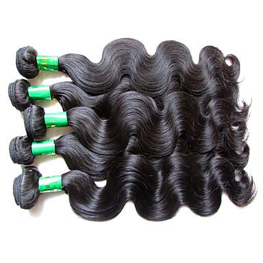 """povoljno Ekstenzije od ljudske kose-5 paketića Indijska kosa Tijelo Wave Virgin kosa Netretirana  ljudske kose Ljudske kose plete 10""""~28"""" Natural Isprepliće ljudske kose Prirodno Najbolja kvaliteta Za crnkinje Proširenja ljudske kose"""