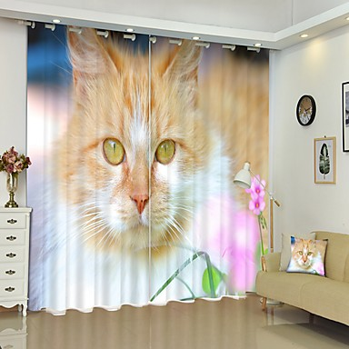 hosszú haj narancssárga macska digitális nyomtatás 3d függöny árnyékoló függöny nagy pontosságú fekete selyem anyagból kiváló minőségű függöny