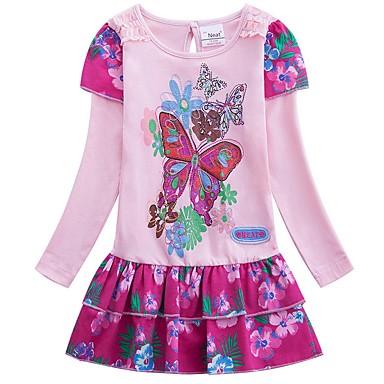 levne Nejprodávanější-Děti Dívčí Cute Style Komiks Šaty Světlá růžová