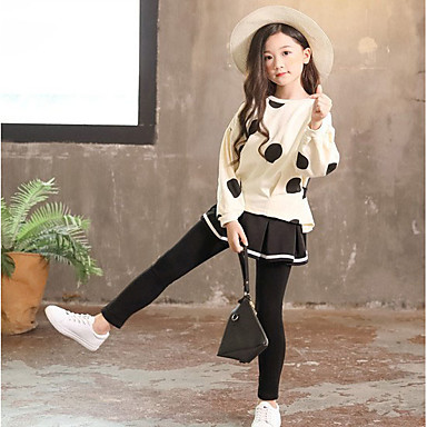 cheap Baby & Kids-Kids Girls' Basic Polka Dot Long Sleeve Clothing Set White