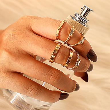 billige Motering-Dame Ring Ring Set 6pcs Gull Strass Legering Firkantet Klassisk Vintage trendy Gave Daglig Smykker Klassisk Heldig