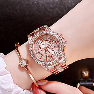cheap Women's Watches-Women's Luxury Watches Diamond Watch Gold Watch Japanese Quartz Stainless Steel Silver / Gold / Rose Gold Analog Ladies Charm Fashion Bling Bling - Rose Gold Gold Silver