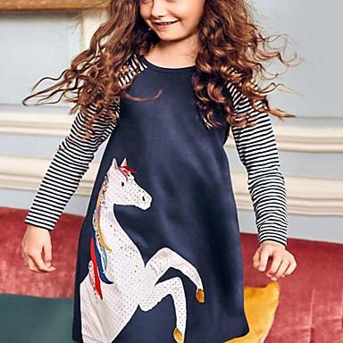 baratos Mais Vendidos-Infantil Para Meninas Desenho Animado Vestido Azul Claro