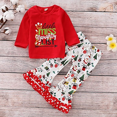 cheap Clearance-Baby Girls' Basic Floral / Christmas Long Sleeve Regular Cotton Clothing Set Red / Toddler