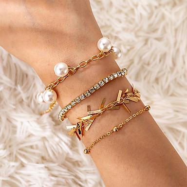 levne Dámské šperky-4ks Dámské Průsvitné Klasické Náramky Náušnice / Náramek Náramek s přívěškem Třásně Šťastný Vintage korejština Módní Elegantní Barevná Napodobenina perel Náramek šperky Zlatá Pro Dar Denní Dovolen