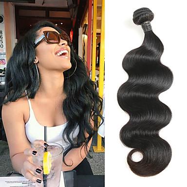 povoljno Ekstenzije od ljudske kose-1 paket Brazilska kosa Tijelo Wave Virgin kosa Ljudske kose plete 12-30 inch Isprepliće ljudske kose 4a Proširenja ljudske kose / 10A