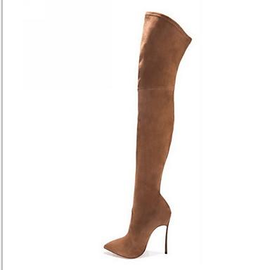 Női Csizmák Over-the-térd csizma Tűsarok Erősített lábujj Fordított bőr Térdig érő csizmák Tél Fekete / Világosbarna / Bézs