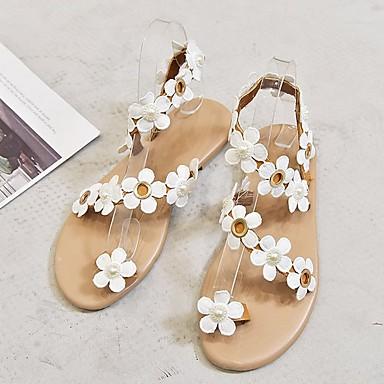 cheap Women's Sandals-Women's Sandals Flat Heel Peep Toe PU Summer White