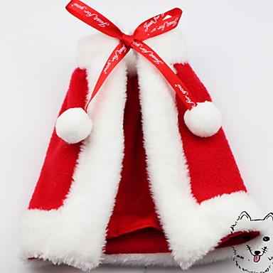 Kutyák Macskák Házi kedvencek Pelerin/köpeny Tél Kutyaruházat Piros Jelmez Polyster Egyszínű Karácsony Szerepjáték Karácsony XS S M L XL