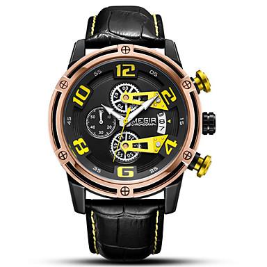 levne Pánské-Pánské hodinky zábalu Křemenný Pravá kůže Kalendář Chronograf Svítící Analogové Outdoor
