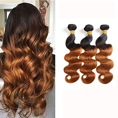 povoljno Ekstenzije od ljudske kose-3 paketa Brazilska kosa Tijelo Wave Virgin kosa Ombre 8-24 inch Ombre Isprepliće ljudske kose Proširenja ljudske kose / 10A
