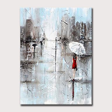 Hang oslikana uljanim bojama Ručno oslikana - Pejzaž Ljudi Moderna Bez unutrašnje Frame