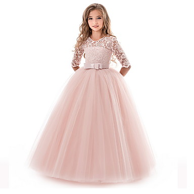 cheap Kids' New Arrivals-Kids Girls' Flower Princess Girls Lace Applique Dress Birthday Wedding Party Princess Prom Dresses